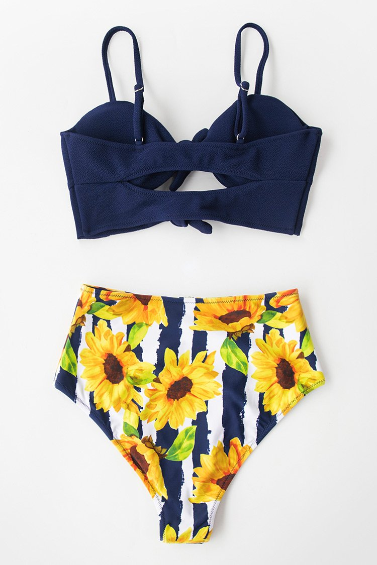 Navy Knotted Cutout Reversible Bikini