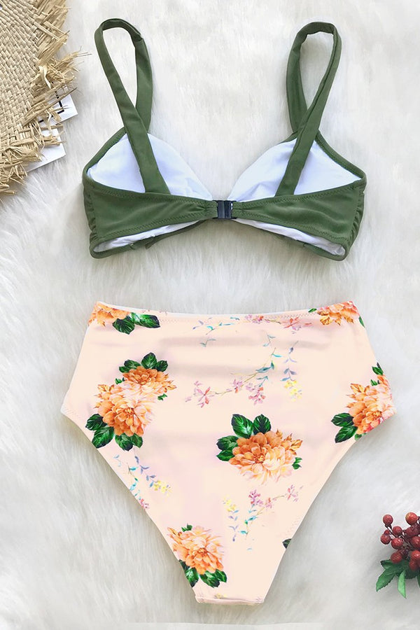 Green and Peony Print High-Waisted Bikini