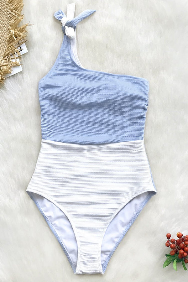 Blue And White One Shoulder One-Piece Swimsuit