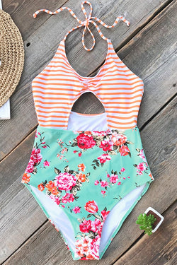 Orange Striped And Floral One-piece Swimsuit