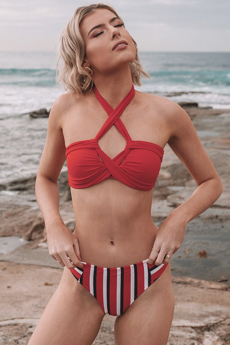 Red Halter Bikini With Stripe Print Bottom