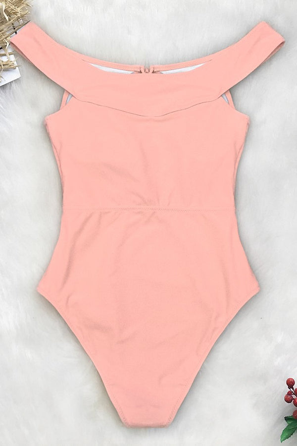 Peach Pink Lace-Up One-Piece Swimsuit