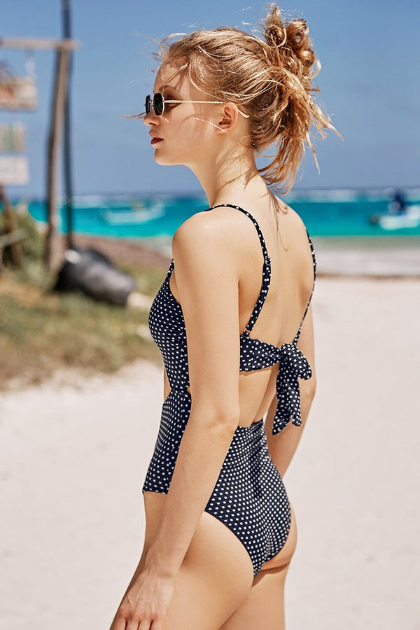 Polka Dot Cutout One-Piece Swimsuit