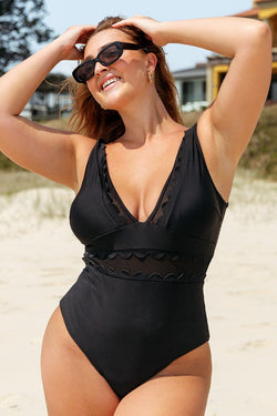 Solid Black V-Neck One Piece Swimsuit