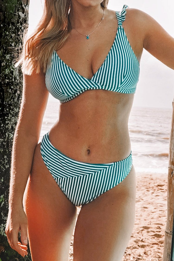 Cyan And White Stripe Double Straps Bikini