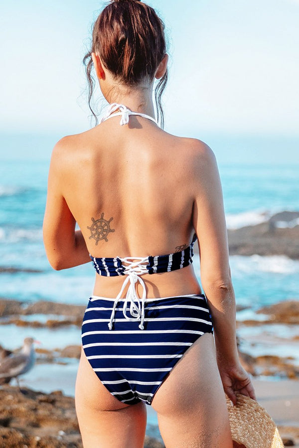 Navy and White Stripe Longline Bikini