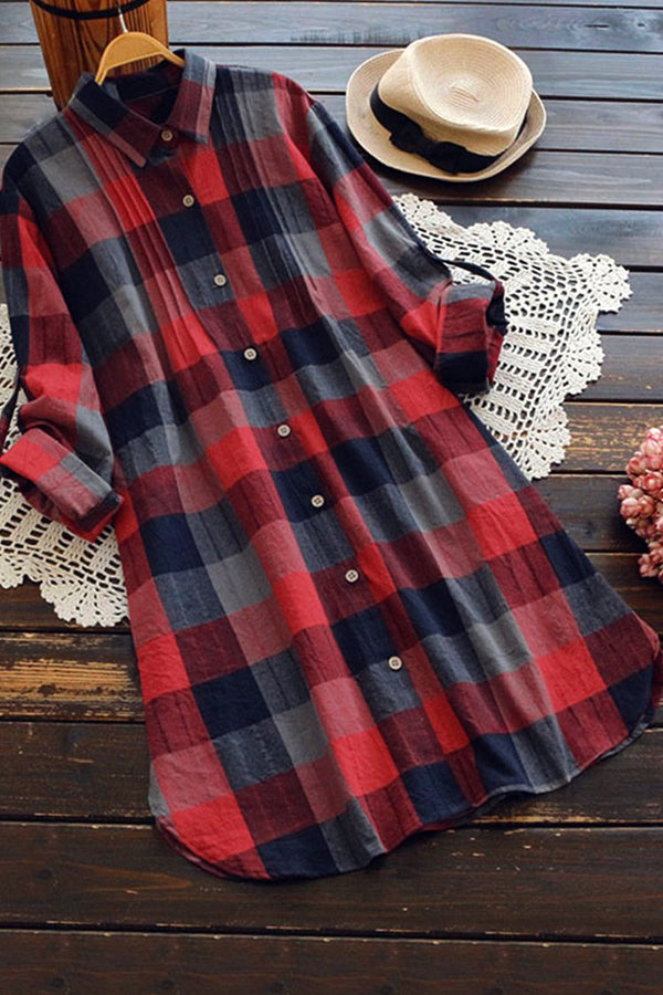 Lady Leisure Plaid buttoned Dress