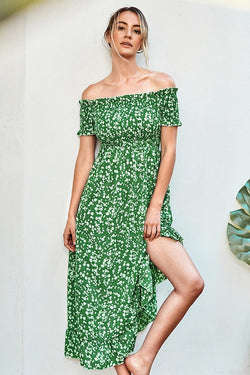 Ditsy Floral Smocked Off-The-Shoulder Dress