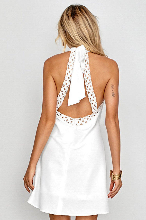 White Neck Halter Dress