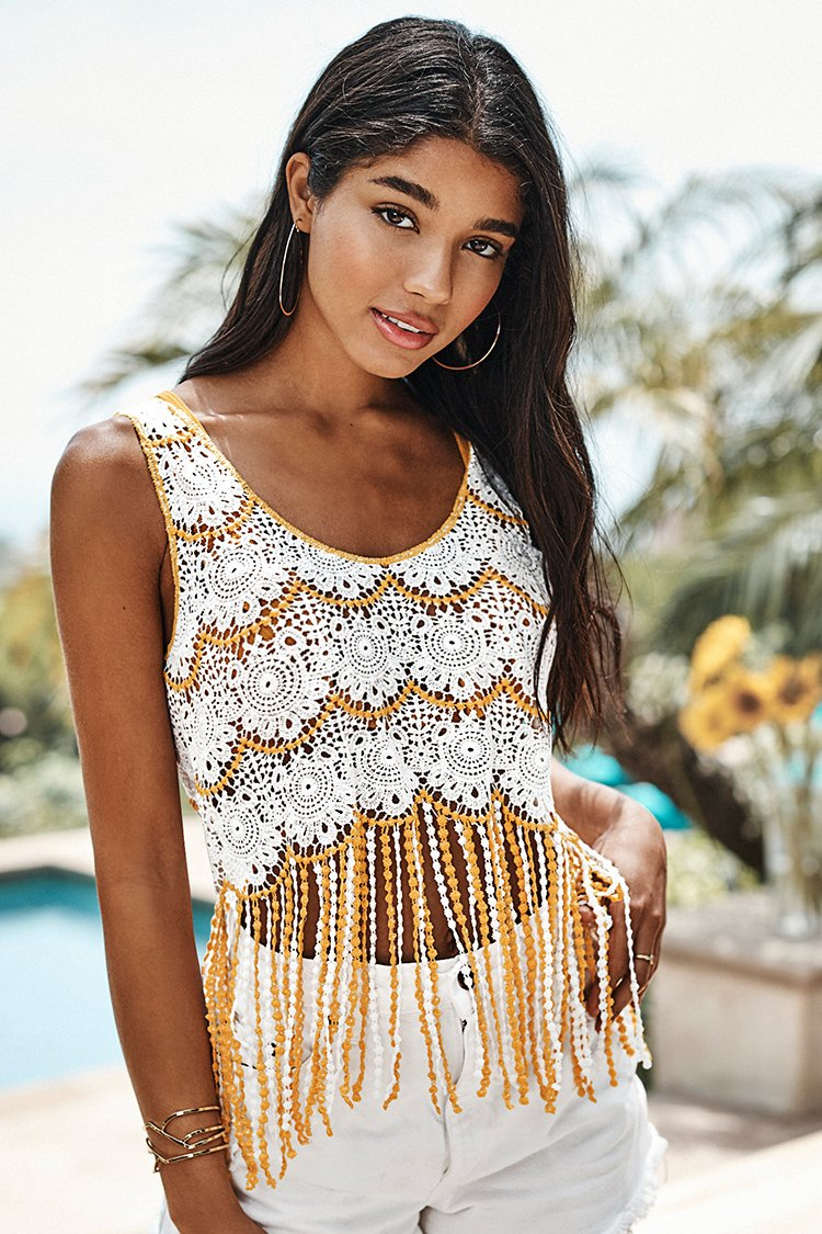 Yellow and White Crochet Tank Cover Up with Fringe Trim