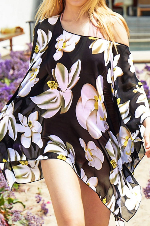 Black Pink Floral Print Cover Up