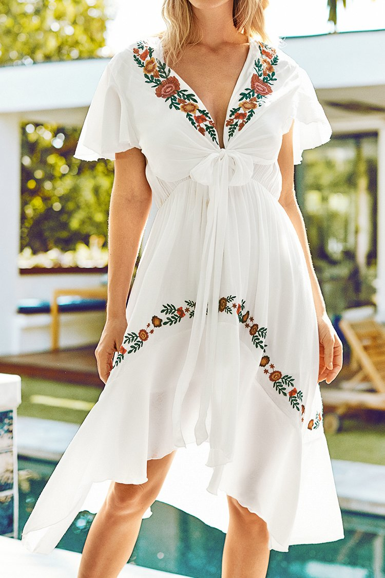 White Floral Ruffles Embroidery Dress