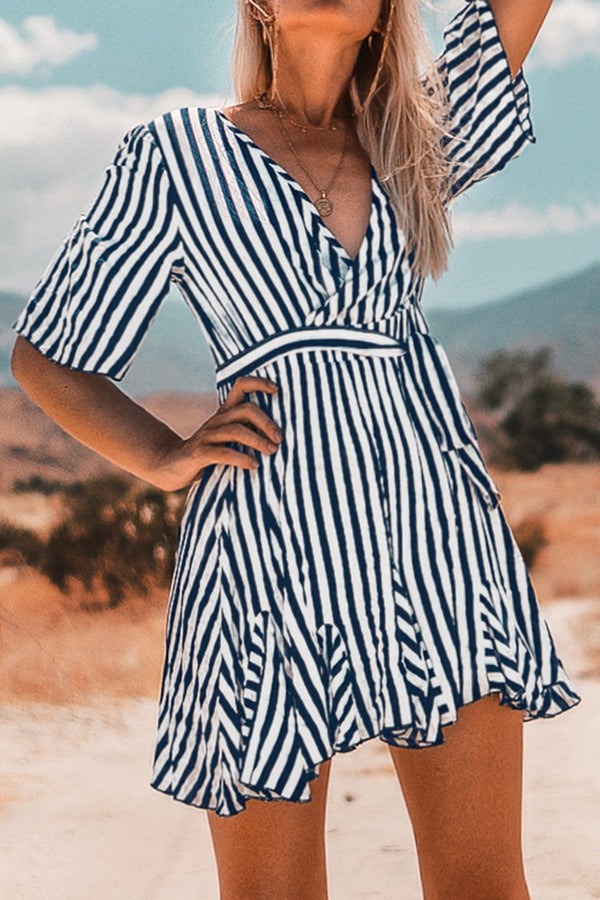 Navy and White Stripe Mini Dress