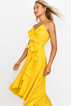 Bright Yellow Ruffle Wrap Midi Dress