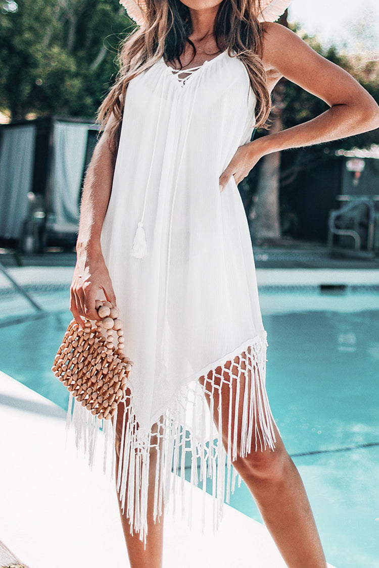 White Backless Cover Up with Tassels