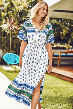 Blue Block Print Midi Dress
