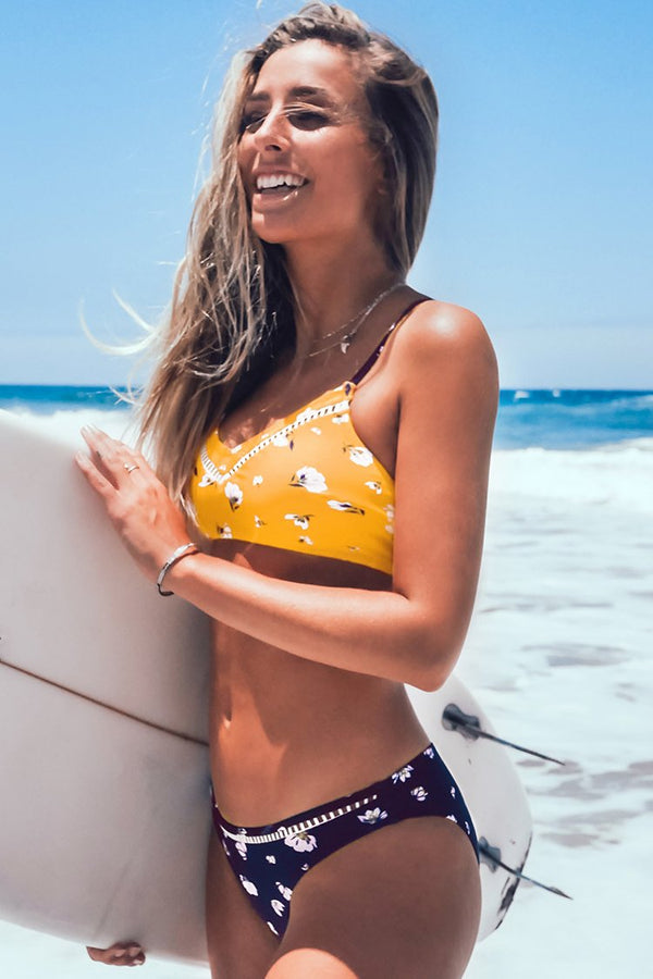 Yellow and Navy Floral Bikini