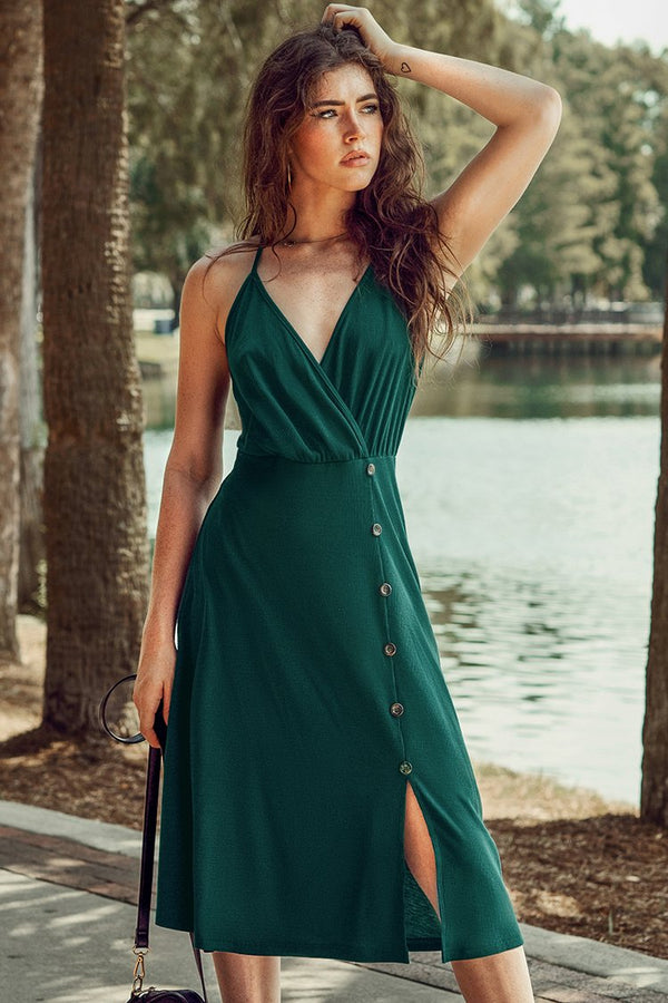 Green V-Neck Buttoned Midi Dress