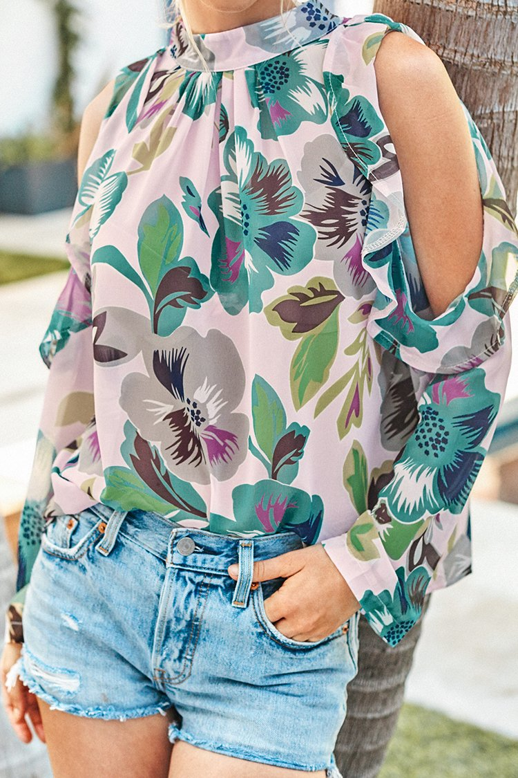 Floral Cold Shoulder High-Neck Top
