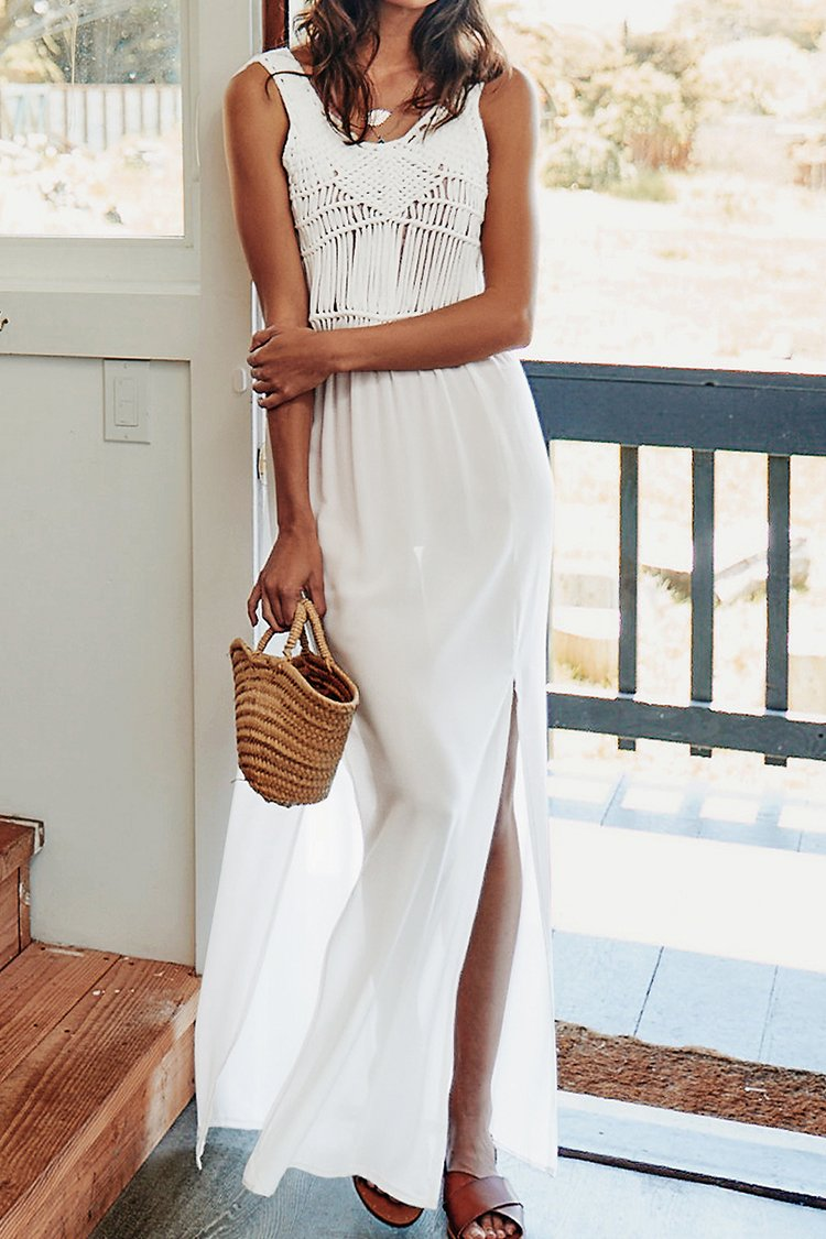 Long Crochet Slit Dress