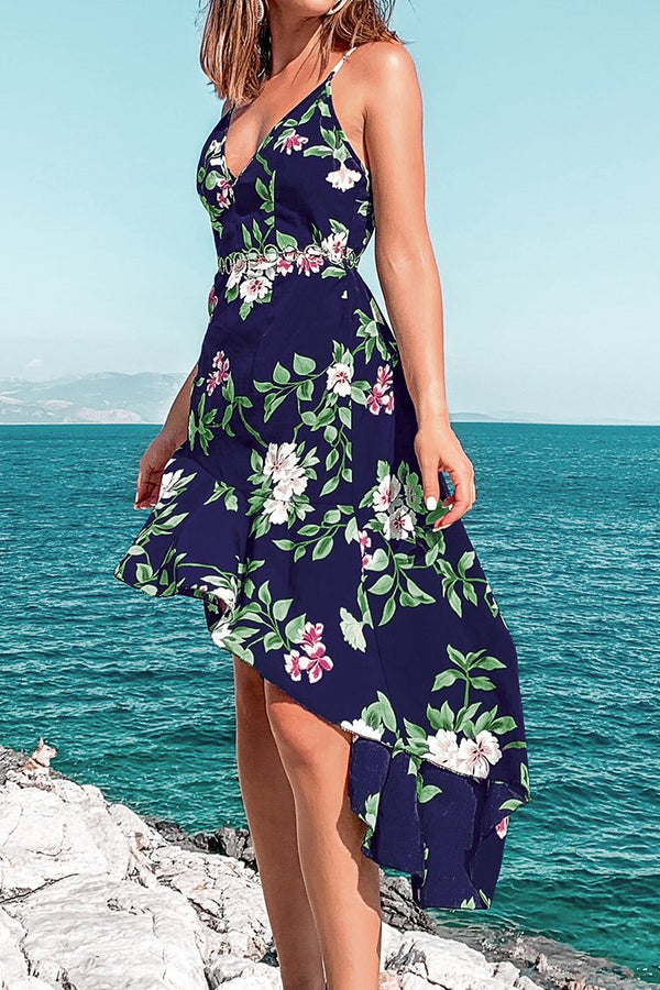 Navy Floral High-Low Dress