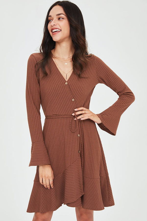 Caramel Long Sleeve Buttoned Dress