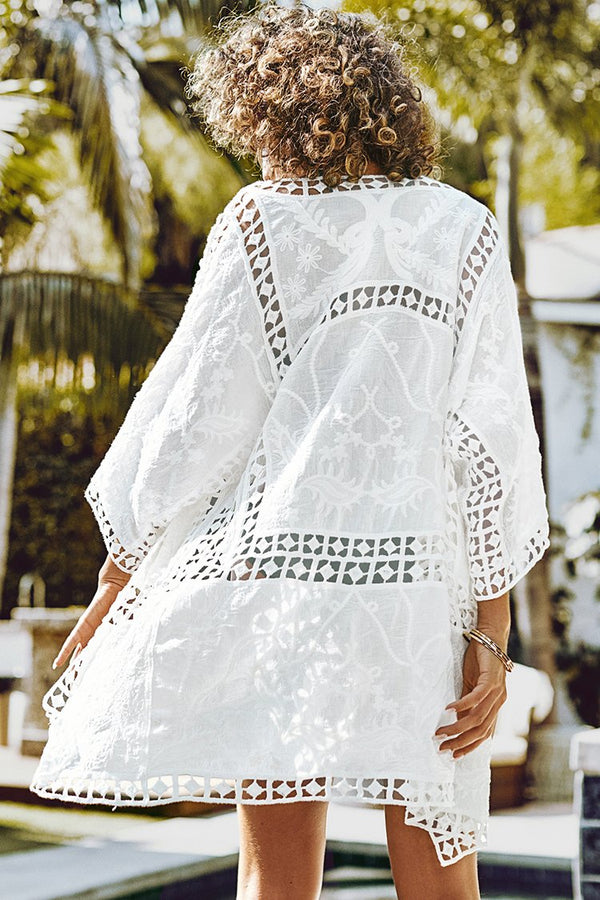 White Crochet Open Cover Up