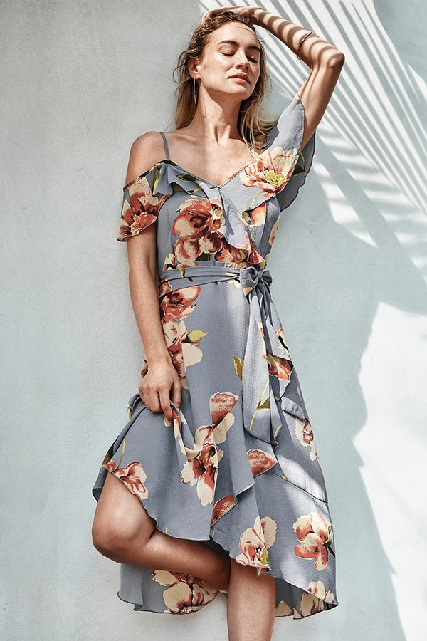 Sunset Floral Cold Shoulder Dress
