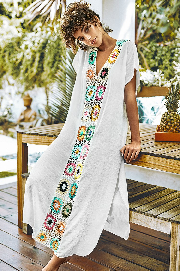 White Maxi Cover Up with Colorful Crochet