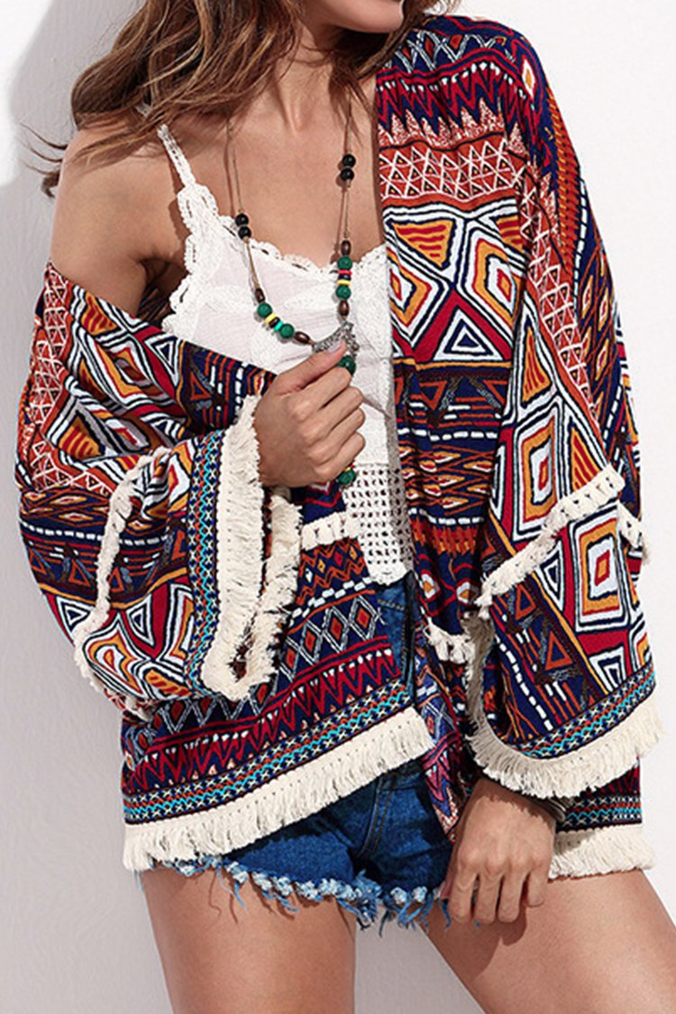 Fringe Trimmed Boho Short Cover Up
