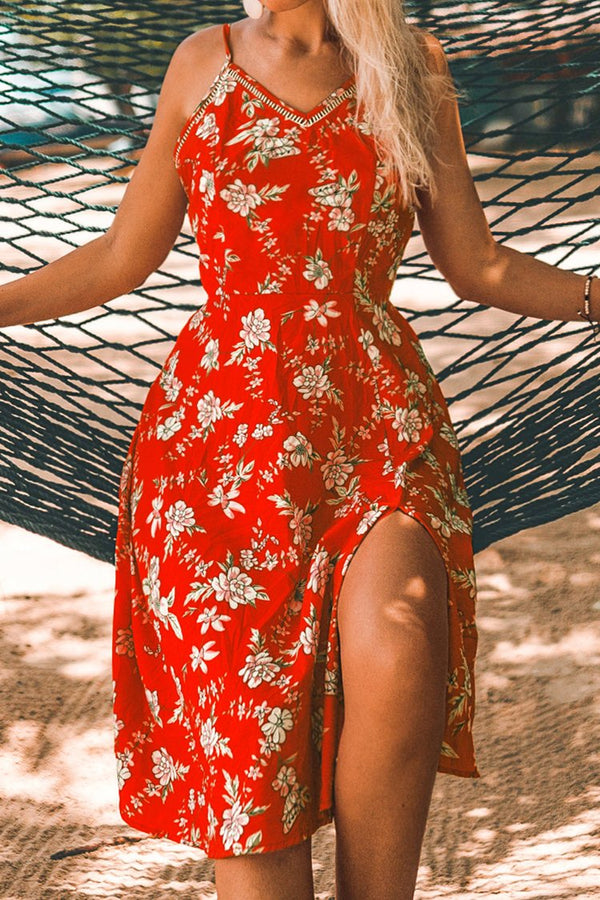 Red Orange Floral Midi Dress