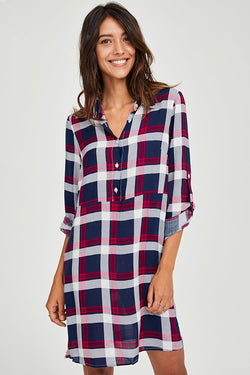 Red and Blue Plaid Shirt Dress