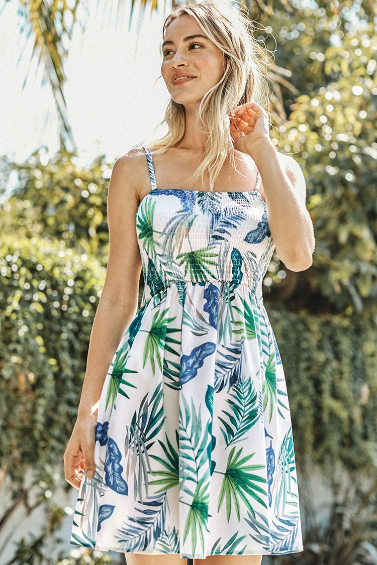 White Leafy Smocked Slip Dress