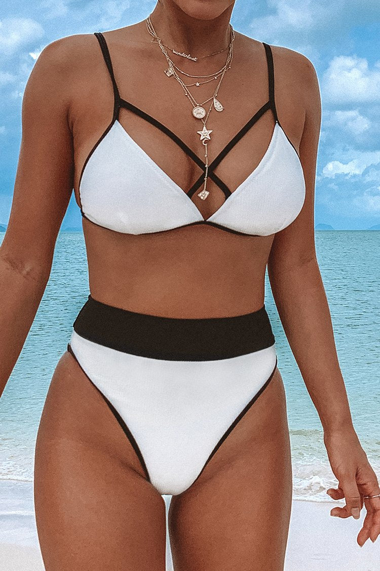 Strappy Black and White Triangle Bikini