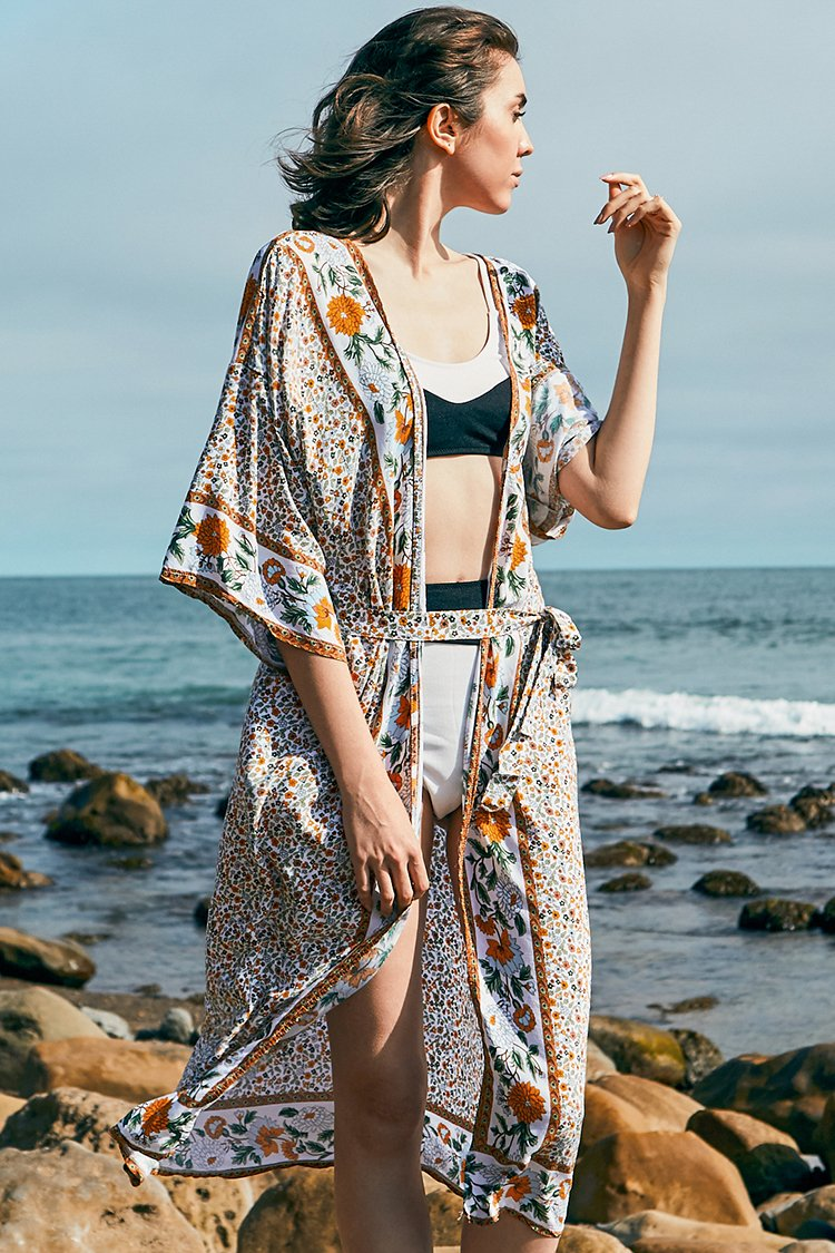 Floral Print Cover Up With Belt