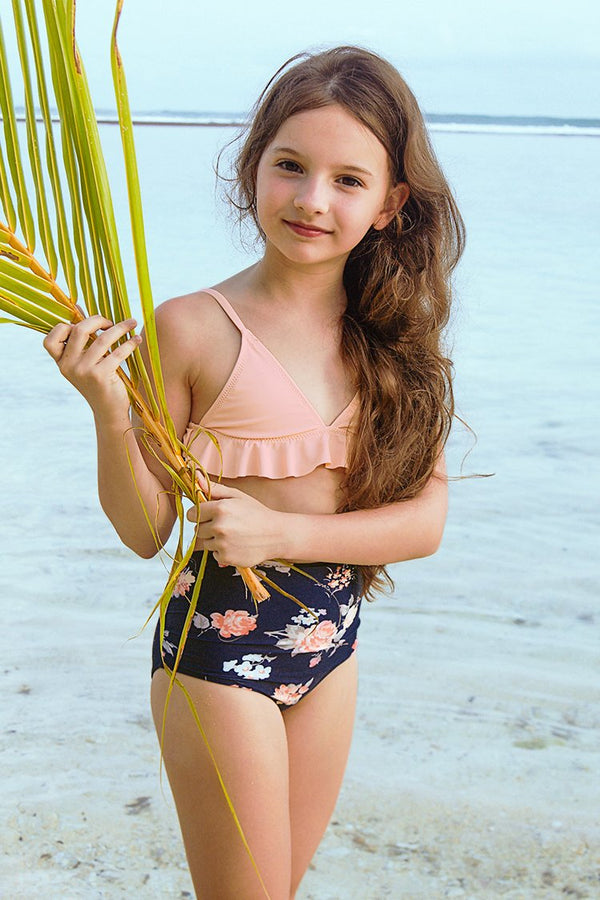 Pink Ruffled Bikini with High Waist Bottom for Toddler Girls and Girls