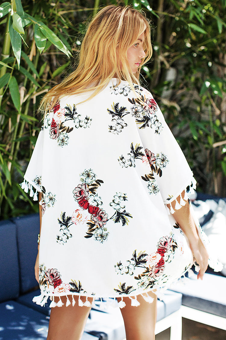 Chiffon Floral Print Cover Up with Tassels