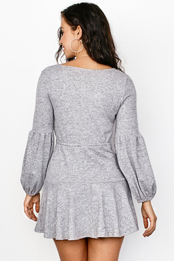 Gray Puff Sleeve Drawstring Dress