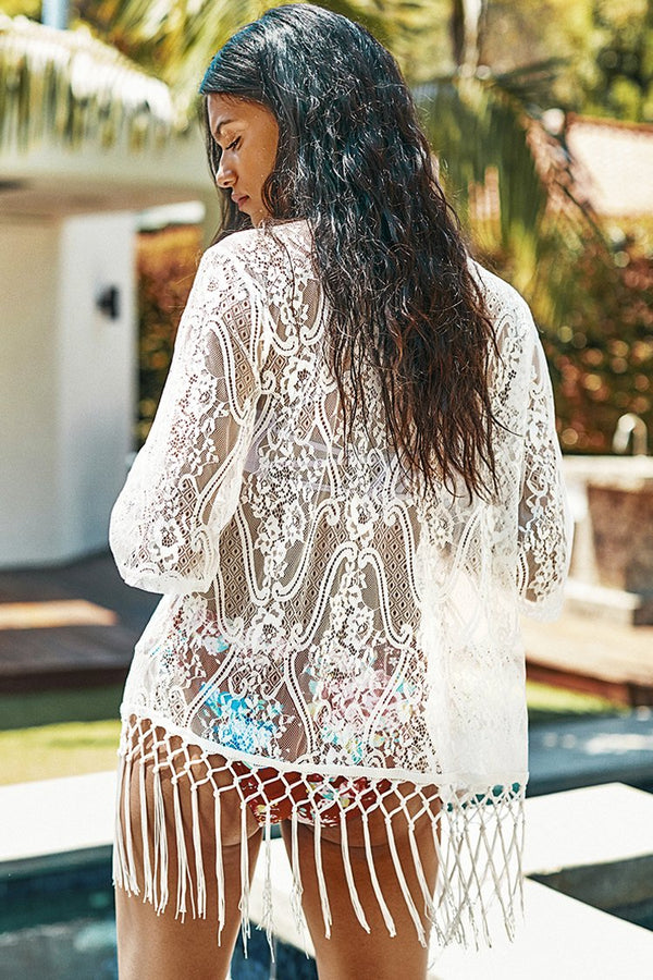 White Lace Cover Up with Fringe Trim