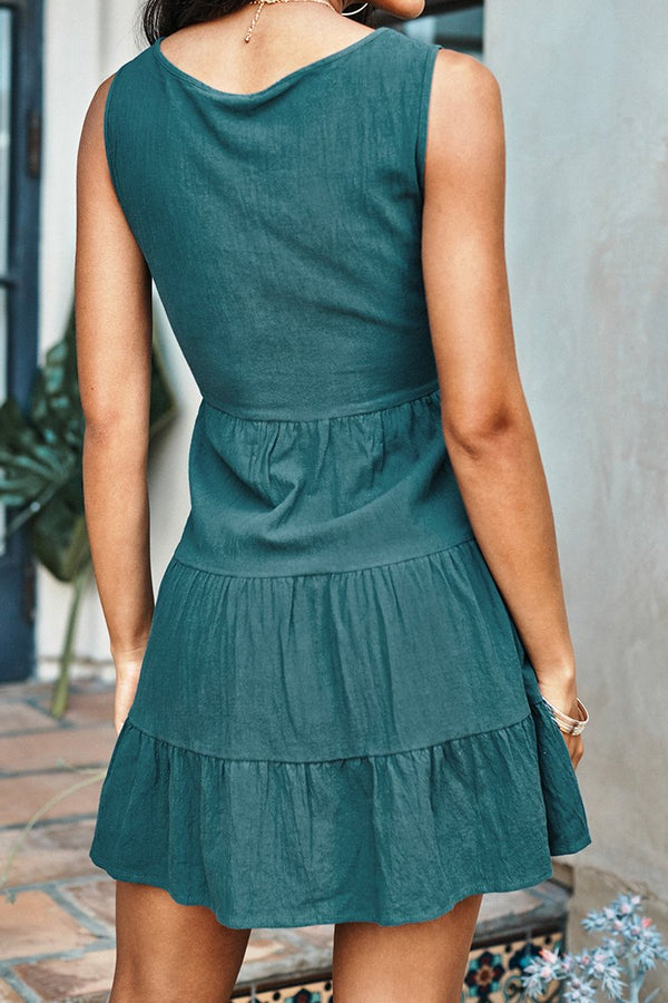 Green Front Button Sleeveless V-Neck Dress