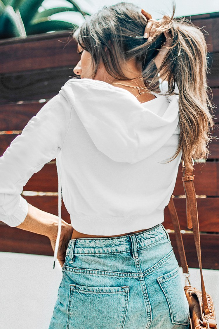 White Cropped Zipped Hoodie