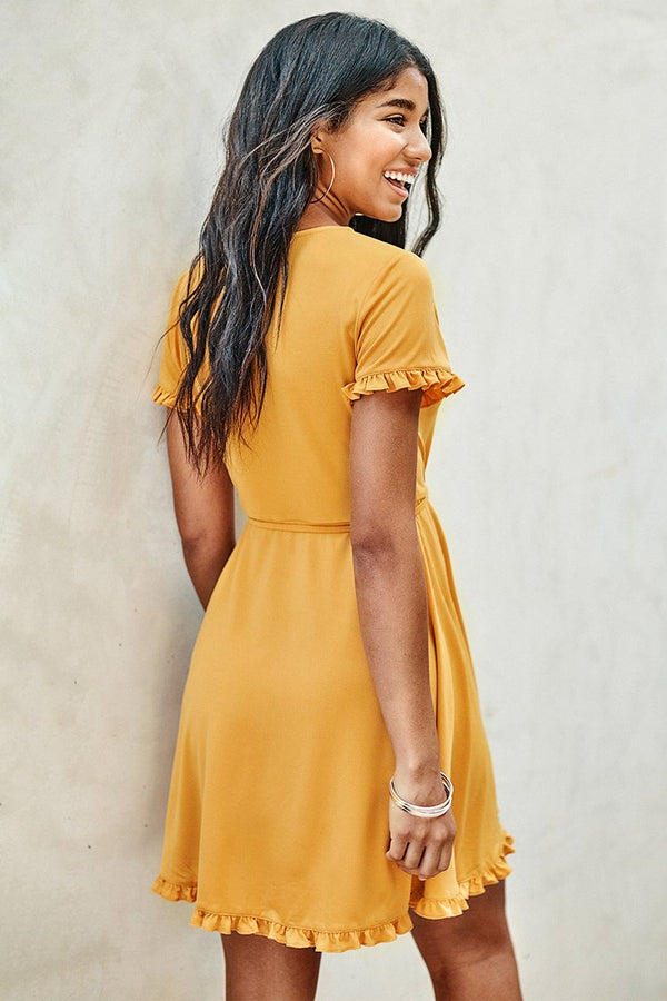 Yellow Ruffle Short Wrap Dress