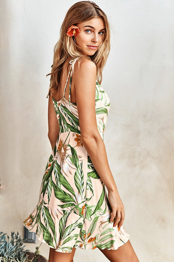 Tropical Floral Lace-Up Dress
