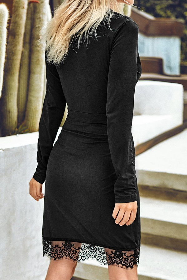 Black Long Sleeve Bodycon Dress with Lace Trim