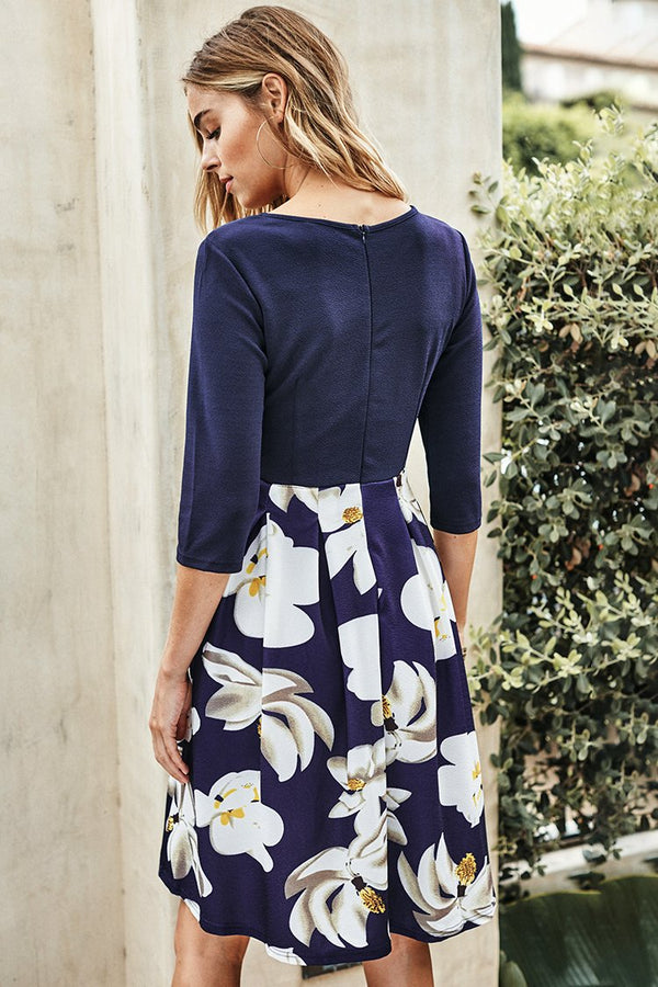 Navy Magnolia Print Dress