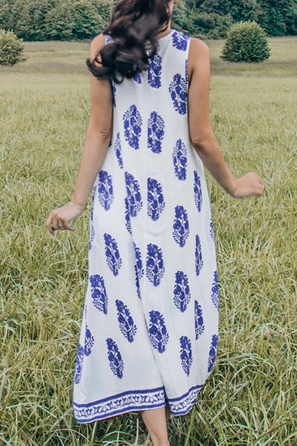 White and Blue Print Sleeveless V-Neck Midi Dress