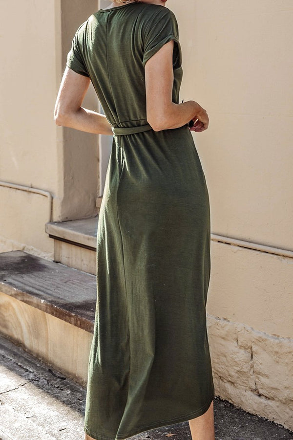Olive Button Front High-Low Dress