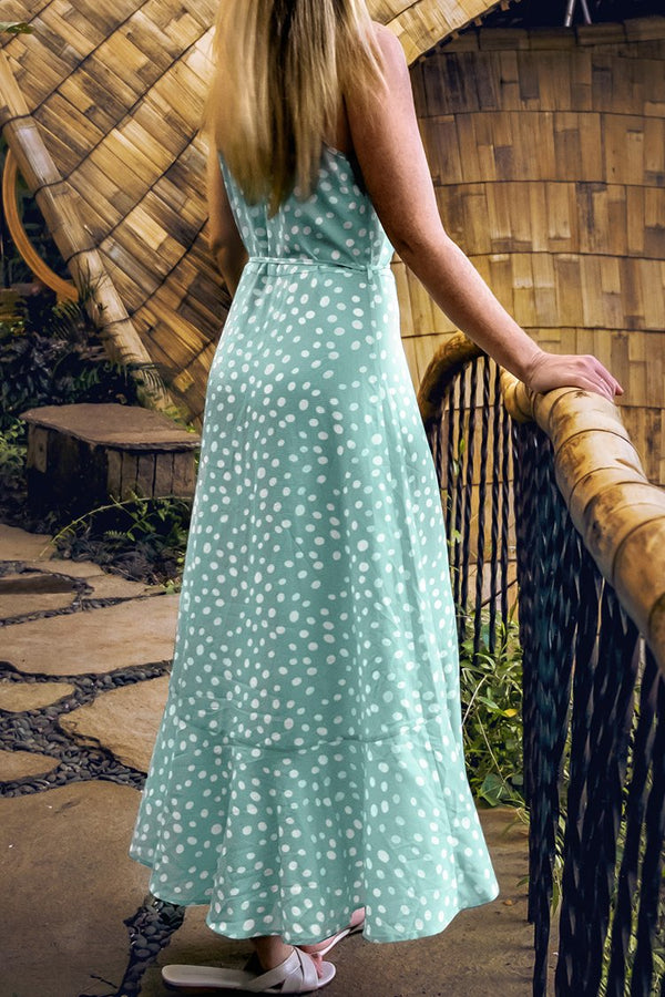 Green Polka Dot Ruffle Maxi Dress