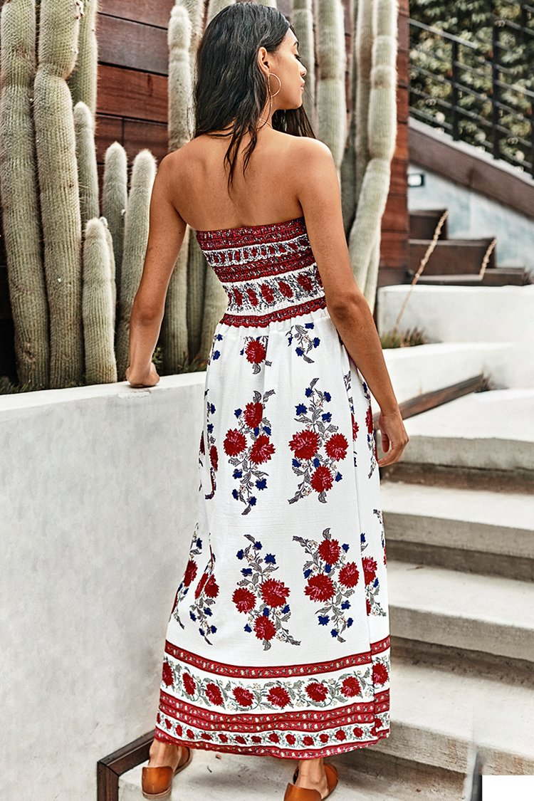 Floral Printed Strapless Dress
