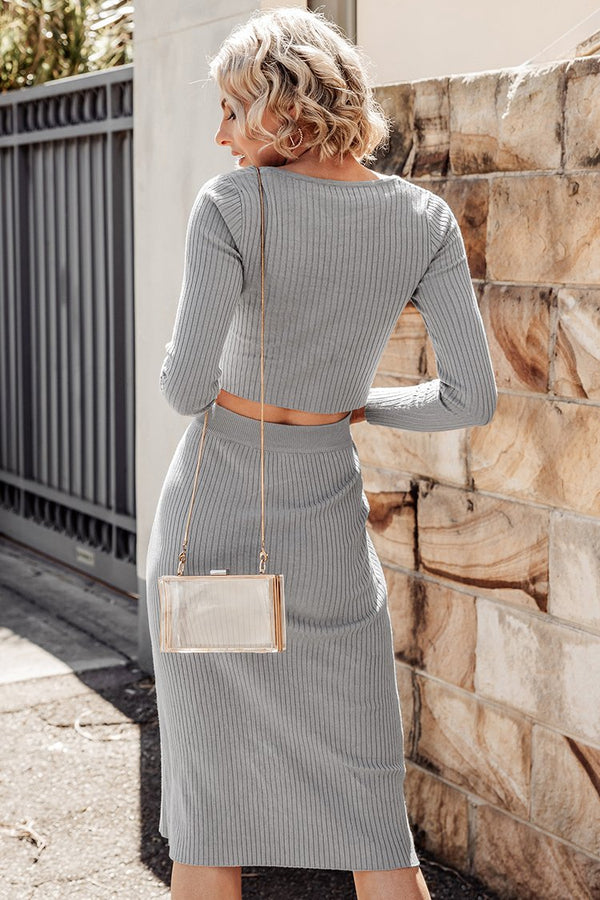 Ribbed Long Sleeve Top and Midi Skirt Set
